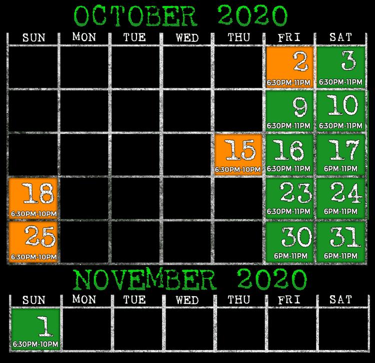 2020 Scream Town Open Dates